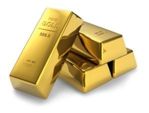 ゴールド金の延べ棒が重なっている