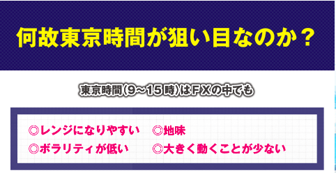 東京オンリーFXの東京時間の狙い目